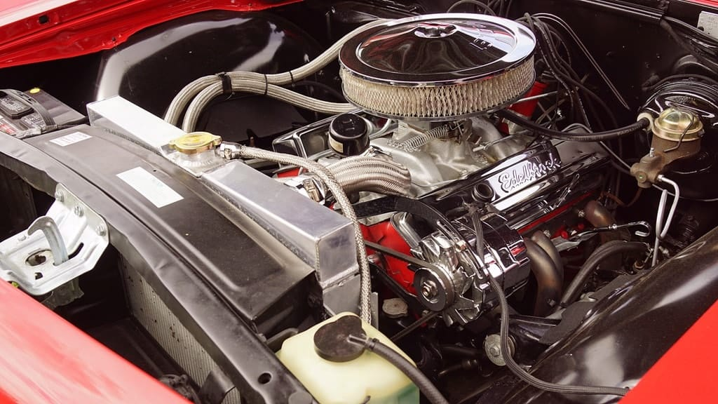 air filter installed inside a  vintage car