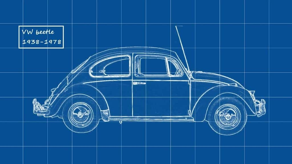 a simple blue print of a volkswagen car
