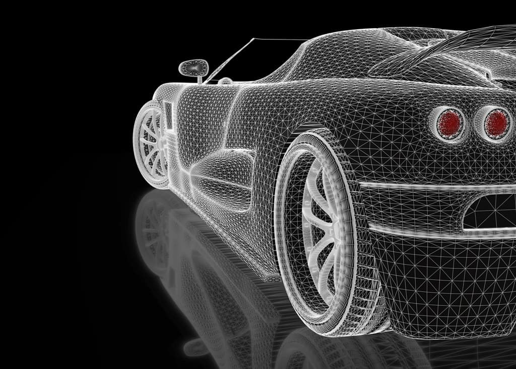 wireframe rendering of a top down car