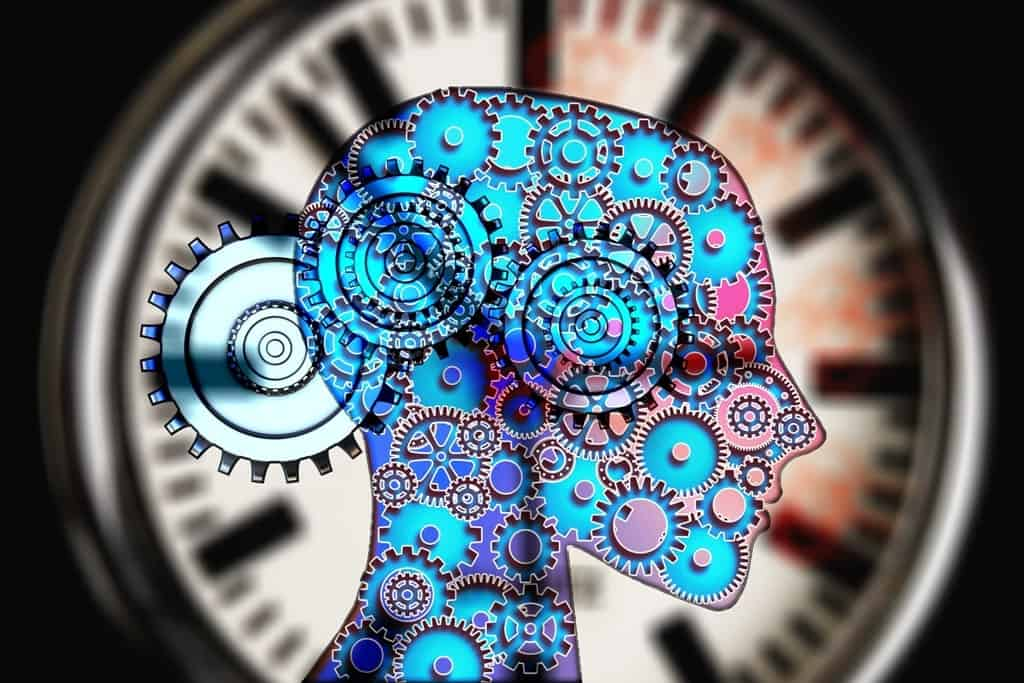 graphics showing a silhouette of a person's head, with machine gears inside and with a clock on its background