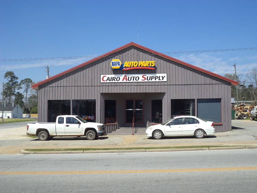 front of an Auto Parts store