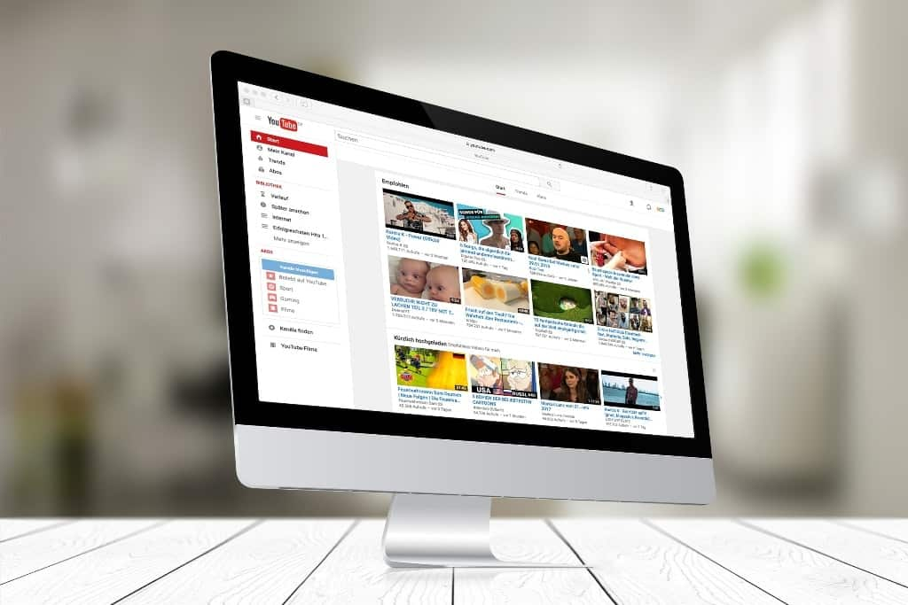 screenshot showing the Youtube site